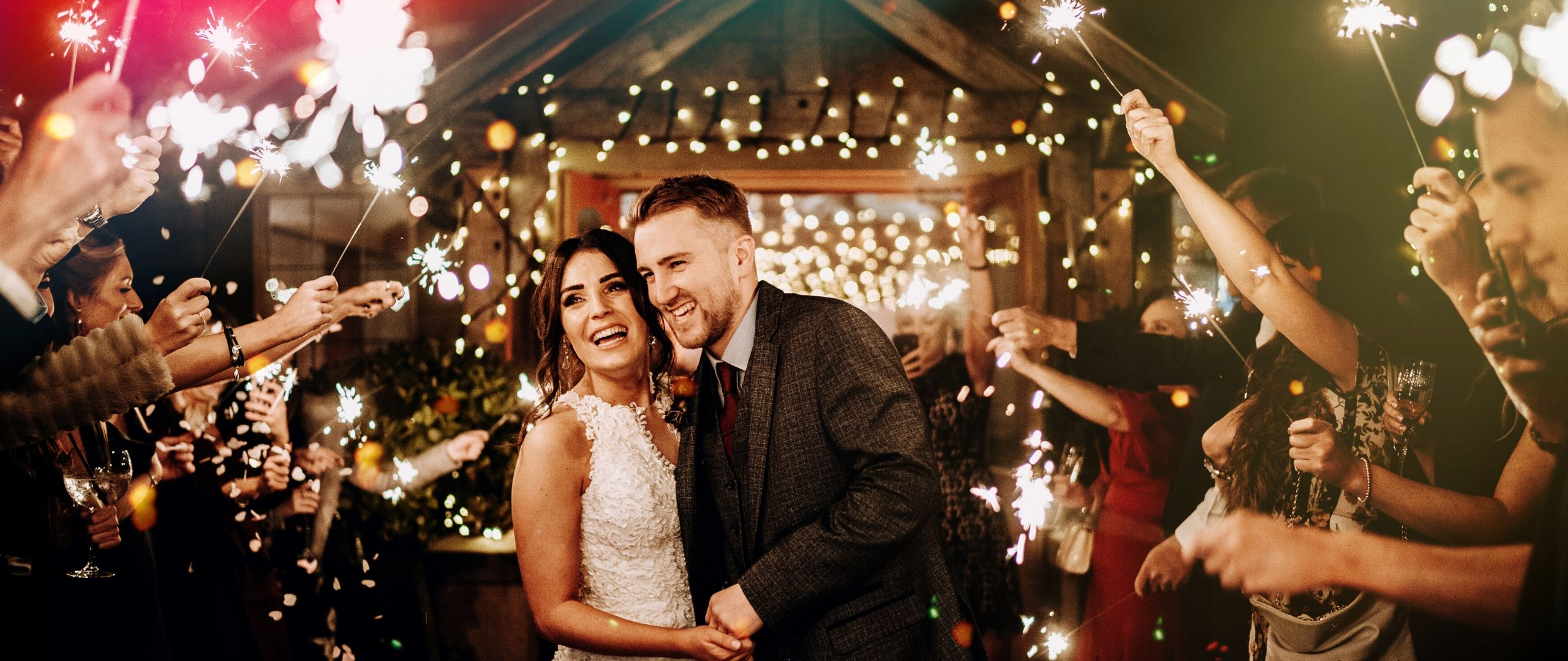 Nikita and Luke light up the sky on their special day